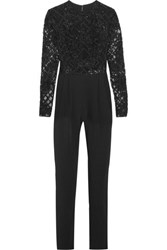 Zuhair Murad Embellished Tulle And Silk Blend Crepe Jumpsuit Black