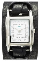 Women's La Mer Collections 'Milwood' Leather Wrap Watch 35Mm Black Silver