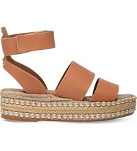 Kurt Geiger Palma Leather Flatform Sandals Tan