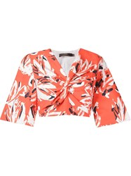 Andrea Marques Floral Cropped Blouse Red