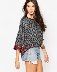 Yumi Tunic Blouse In Border Tile Print Blkaubergine