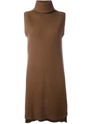 P.A.R.O.S.H. Long Fit High Neck Jumper Brown