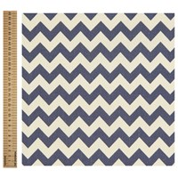 Unbranded Linen Look Chevron Stripe Cotton Fabric Navy