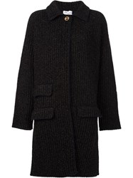 Sonia Rykiel Flocked Ribbed Cardi Coat Black