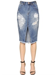 One Teaspoon Cadillac Destroyed Cotton Denim Skirt