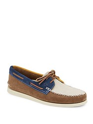 Sperry A O Colorblock Suede Boat Shoes Brown Navy