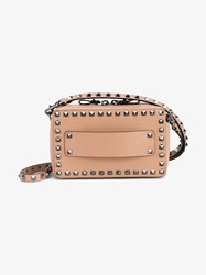 Valentino Leather Rectangular Rockstud Bag Silver