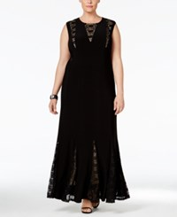 R And M Richards Plus Size Sequined Lace Gown Black