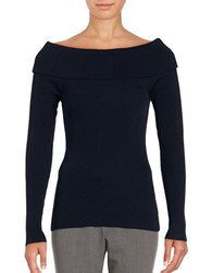 Michael Michael Kors Ribbed Off The Shoulder Knit Top New Navy