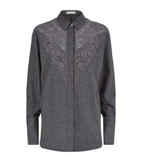 Stella Mccartney Alaina Lace Yoke Flannel Shirt Female Grey