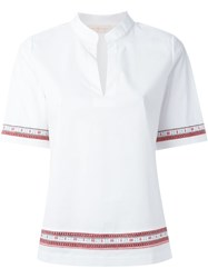 Tory Burch Embroidered Trim Blouse White