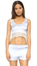 Else Lingerie Pinstripe Silk Crop Top Blue Ivory