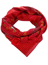 Yves Saint Laurent Vintage Floral Grid Scarf Red