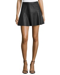 Dex Faux Leather Flared Skirt Black
