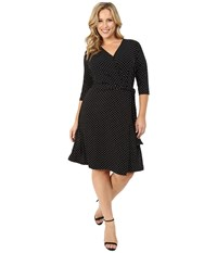 Vince Camuto Plus Size 3 4 Sleeve Island Pin Dot Faux Wrap Dress Rich Black Women's Dress
