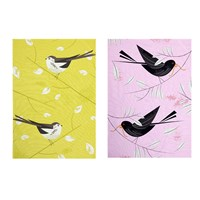 Magpie Birdy Ii Tea Towel Set Of 2 Longtailed Tit And Blackbird