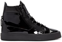 Giuseppe Zanotti Black Patent Leather London High Top Sneakers