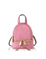 Michael Kors Rhea Zip Misty Rose Leather Extra Small Messenger Backpack