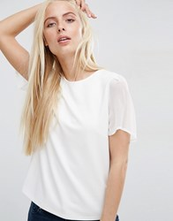 Asos Top In Ponte With Chiffon Sleeve Cream