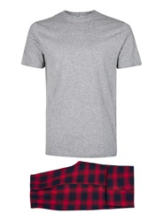 Topman Red And Navy Check Pyjama Set