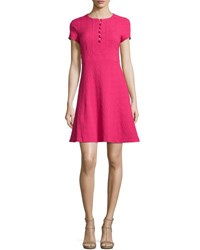 Nanette Lepore Short Sleeve Jacquard Fit And Flare Dress Fuchsia