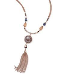 Inc International Concepts Gold Tone Mauve Multi Stone Tassel Pendant Necklace Only At Macy's