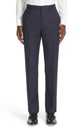 Z Zegna Men's Flat Front Stripe Wool Trousers Navy Check