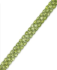 Macy's Peridot Three Row Bracelet In Sterling Silver 25 Ct. T.W.