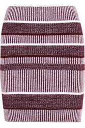 Alexander Wang T By Ribbed Knit Cotton Blend Skirt Burgundy