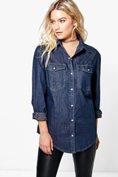 Boohoo Oversized Denim Shirt Indigo