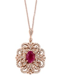 Effy Amore By Certified Ruby 1 3 8 Ct. T.W. And Diamond 3 8 Ct. T.W. Pendant Necklace In 14K Rose Gold