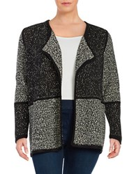 Calvin Klein Plus Marled Colorblocked Open Cardigan Black