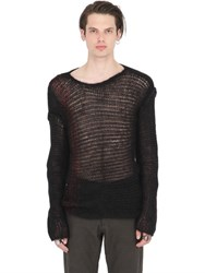 Isabel Benenato Mohair Blend Open Knit Sweater