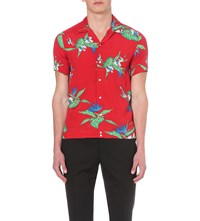 Sandro Relaxed Fit Floral Print Shirt Rouge