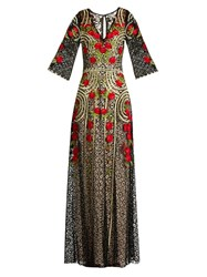 Temperley London Antilla Poppy Embroidered Cotton Blend Lace Gown Black Red