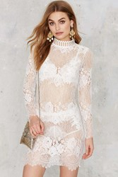 Nasty Gal Laced On A True Story Sheer Dress White