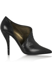 Lanvin Leather Trimmed Python Ankle Boots Black
