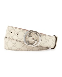 Gucci Interlocking G Buckle Leather Belt Medium White