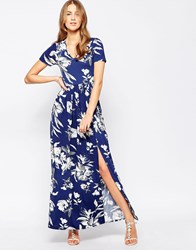 Club L Maxi Dress With Front Split In Large Floral Print Navy