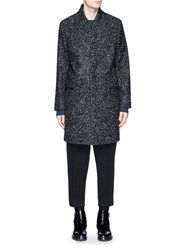 Paul Smith Stand Collar Boucle Knit Coat Black