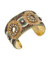 Design Lab Lord And Taylor Beaded Cuff Bracelet Gold