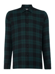 Peter Werth Outward Check Slim Fit Long Sleeve Button Down Sh Green