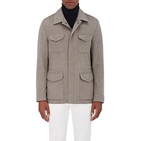 Kiton Men's Brushed Cashmere Melton Safari Jacket Tan