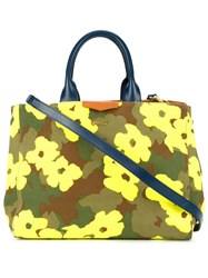 Muveil Floral Camouflage Print Shopping Tote Green