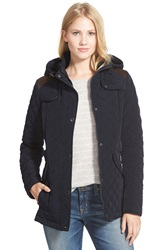 Laundry By Design Faux Suede Trim Hooded Quilted Jacket Pretoria Navy