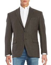 Lauren Ralph Lauren 2 Button Wool Houndstooth Blazer Olive Tan