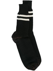 Junya Watanabe Comme Des Garcons Man Striped Socks Black