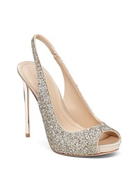 Imagine Vince Camuto Pavi Slingback Platform Peep Toe Pumps Crystal Gold