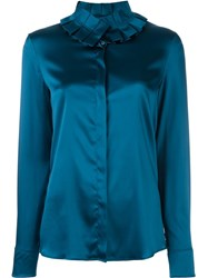 Capucci Ruffle Collar Shirt Blue