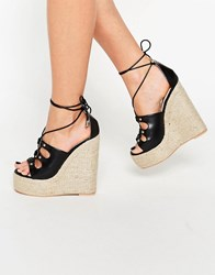 Daisy Street Ankle Tie Wedge Espadrilles Black